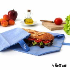 śniadaniówka bock'n'roll niebieska blue różowa owijka lunchbox chusta kieszonka na kanapki serweta ściereczka do zawijania