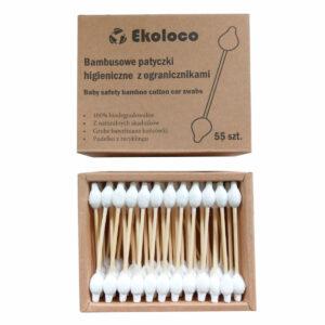 patyczki higieniczne bambusowe dla dzieci ekoloco z ogranicznikami